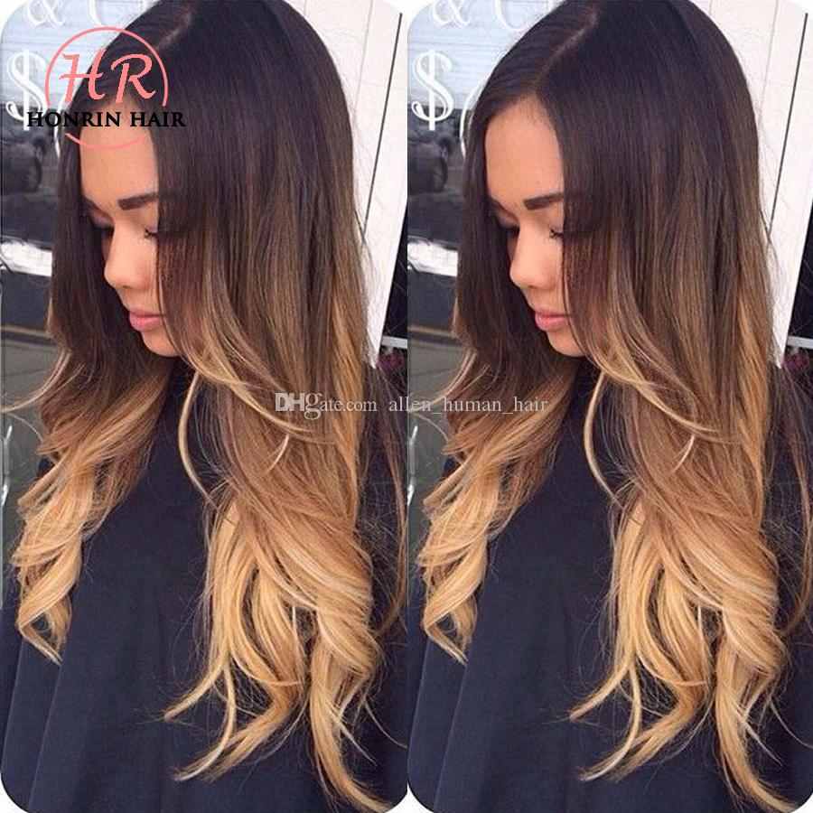 Honrin Hair Lace Front Human Hair Wig Ombre T1b/4/27 Wavy 150% Density Natural Wave Malaysian Virgin Hair Pre Plucked Bleached Knots