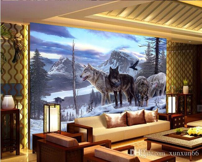 Home Improvement moderno personalizado 3D Photo Wallpapers Vivencionistas Animais nevado Lobo Murais pano de fundo para Sala de Estudo Papel De Parede