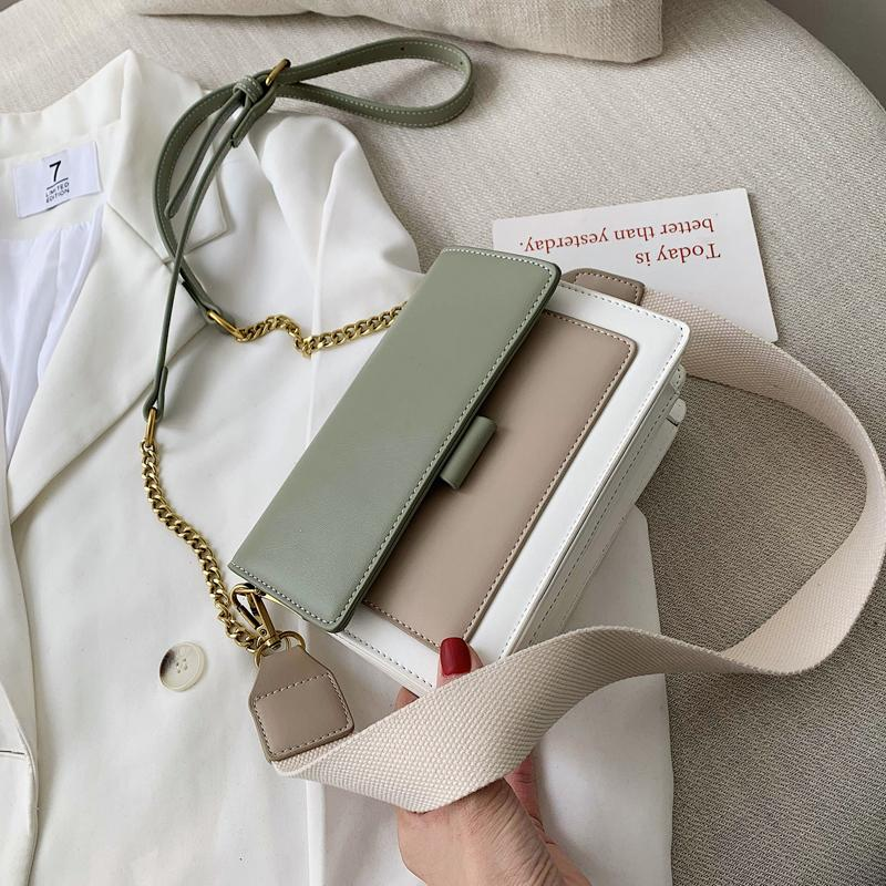 Handbag Women 2020 New Messenger PU Leather Single Handbag Fashion Chain Shoulder Minority Travel French Bag Pivbe