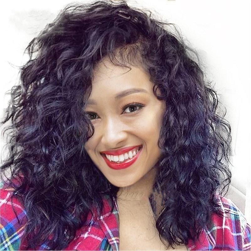 Z F Curly Lace Wigs da frente 20 polegadas peruca preta Natural de onda da linha fina cabelo macio bebê Perucas Mulheres Preto Para