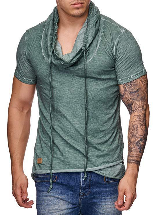 Erkek Tasarımcı Genç Moda Tees Erkek Katı Renk Spor Tişört Yüksek Yaka Kısa Kollu Tops
