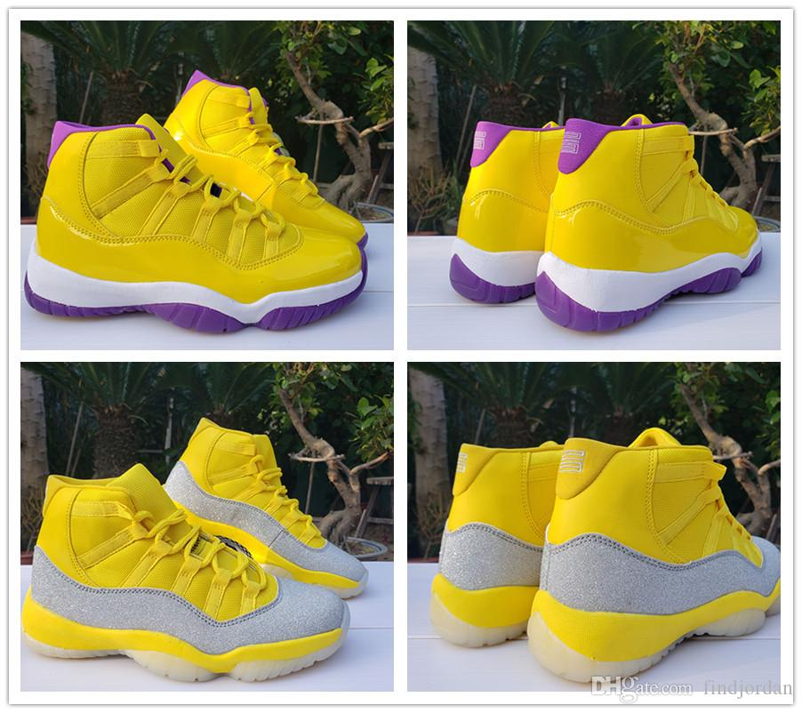 11 Zapatos WMNS plata metálico amarillo baloncesto de los hombres 11s buena calidad Jumpman Lakers púrpura blanca del diseñador para hombre de la zapatilla de deporte Deportes Trainer
