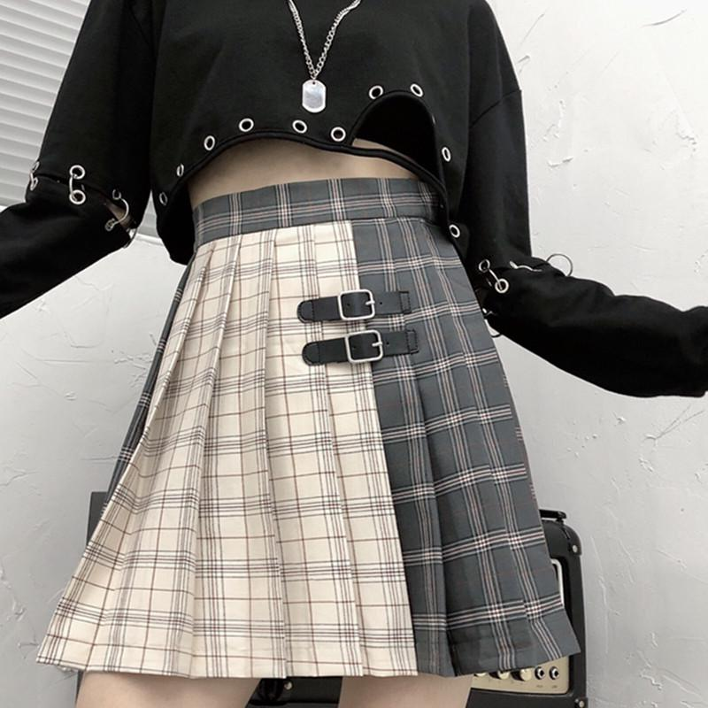 Ruibbit neue Ankunfts-Gothic Punk Harajuku Frauen Chic adrette Art Plaid Pleate Female Fashion Miniröcke