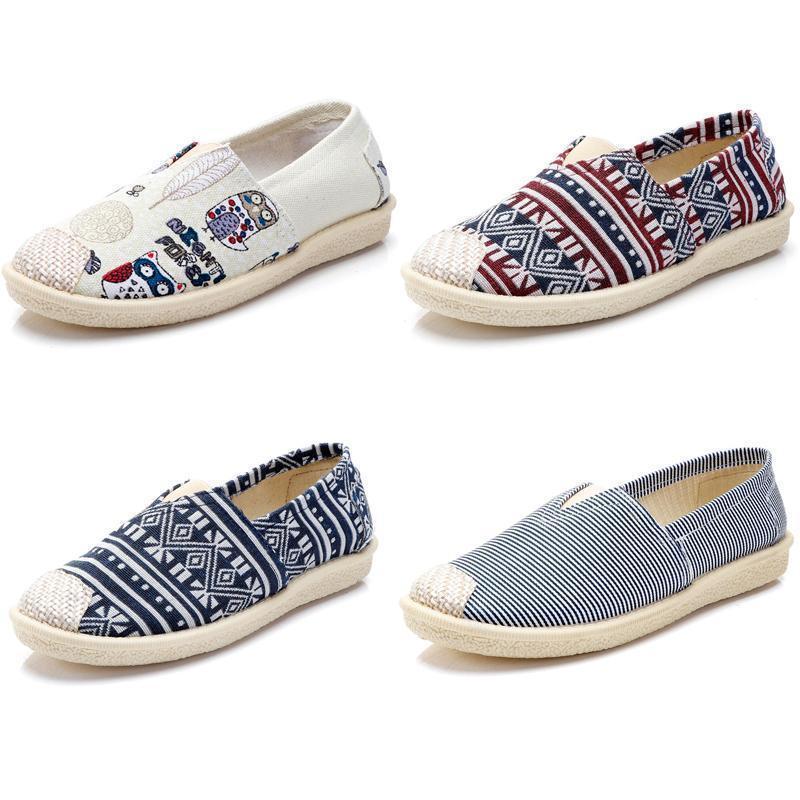 2020 no marca zapatos de las mujeres Zapatos Alpargatas deslizamiento en los planos de los zapatos de lona holgazanes ocasionales las zapatillas de deporte 35-40 Multiclticolors Estilo 3914b #