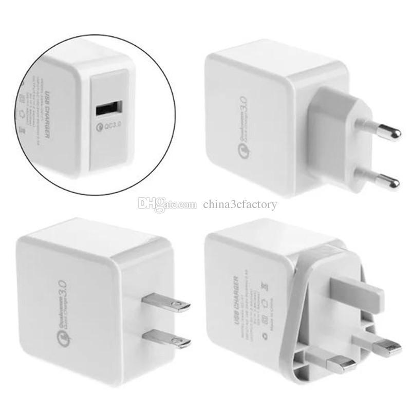 QC3.0 USB зарядное устройство ЕС США быстрая зарядка портативный быстрое зарядное устройство для iphone X 8 7 6 ЕС AU зарядное устройство для всех смартфонов