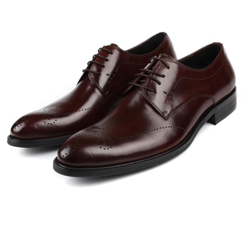 Мужская кожаная обувь Острый носок воловья кожа формальная одежда рабочая одежда модные свадебные туфли кожаные туфли