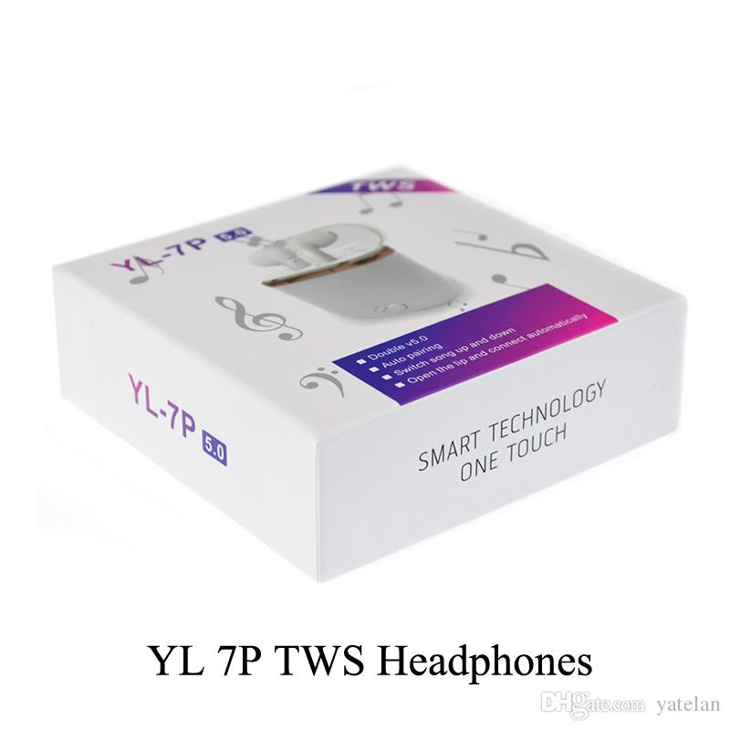 2019 YL-7P TWS Wireless Bluetooth Earbuds Earphones With Charger Box Double V5.0 Stereo Wireless Ear buds Headset Headphones For iOS Android