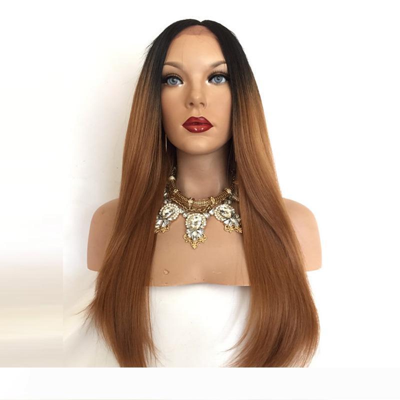New Dark Roots продукт Ombre 1B30 прямые волосы парики с ребенком на заказ волос полный парик шнурка человеческих волос