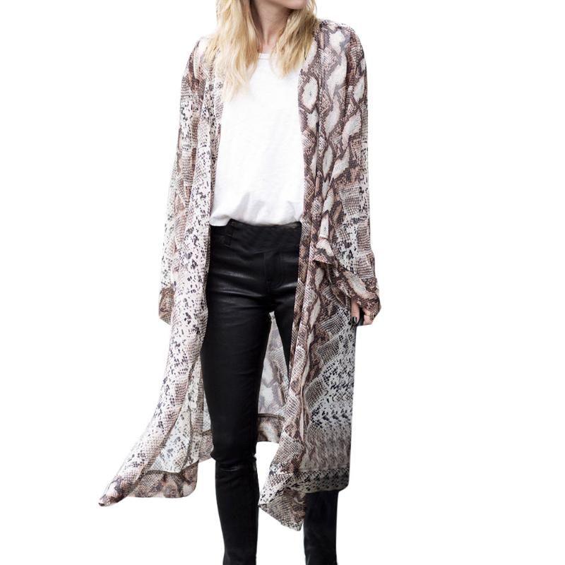 Tamaño más kimono Cardigan para mujer tops y blusas de serpiente de la vendimia de impresión señoras tops de manga larga blusas ropa de mujer 2019