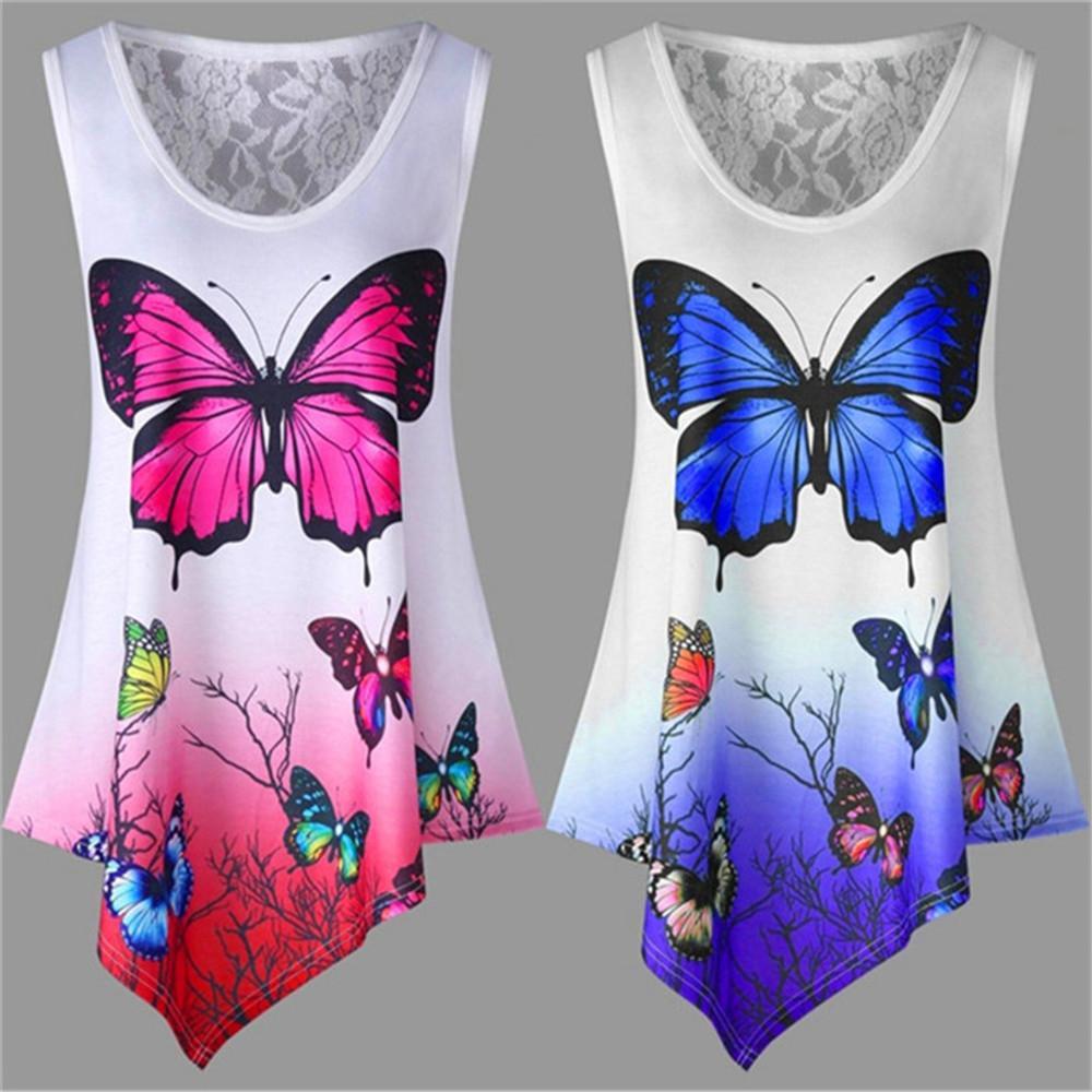 5XL tamaños grandes del nuevo del verano Camiseta de las mujeres tops casuales sin mangas irregular de la mariposa de impresión camiseta floja femenino de la talla Top