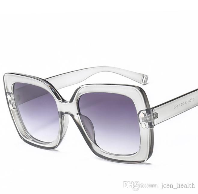 2019 الاتجاه النظارات الشمسية مربع الحالية للنساء إطار كامل الاطار الكبير عدسة واضحة Adumbral حملق نظارات الرياضة في الهواء الطلق نظارات الشمس