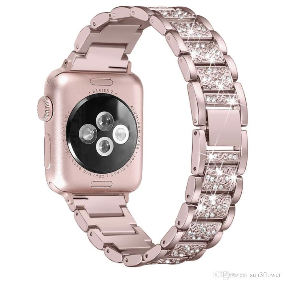 애플 시계 밴드 40 미리 메터 44 미리 메터 38 미리 메터 42 미리 메터 여성 다이아몬드 밴드 애플 시계 시리즈 4 3 1 iWatch 팔찌 스테인레스 스틸 스트랩