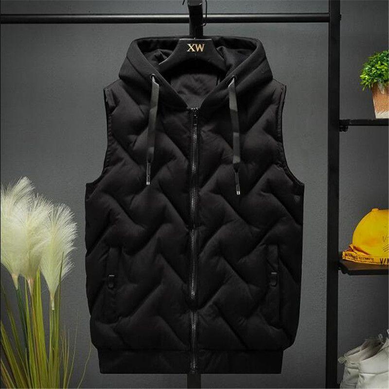 Hommes gilet vestes automne hiver chaleur gilet décontracté capuche gilet sans manches manteaux de la mode gilets de la mode homme