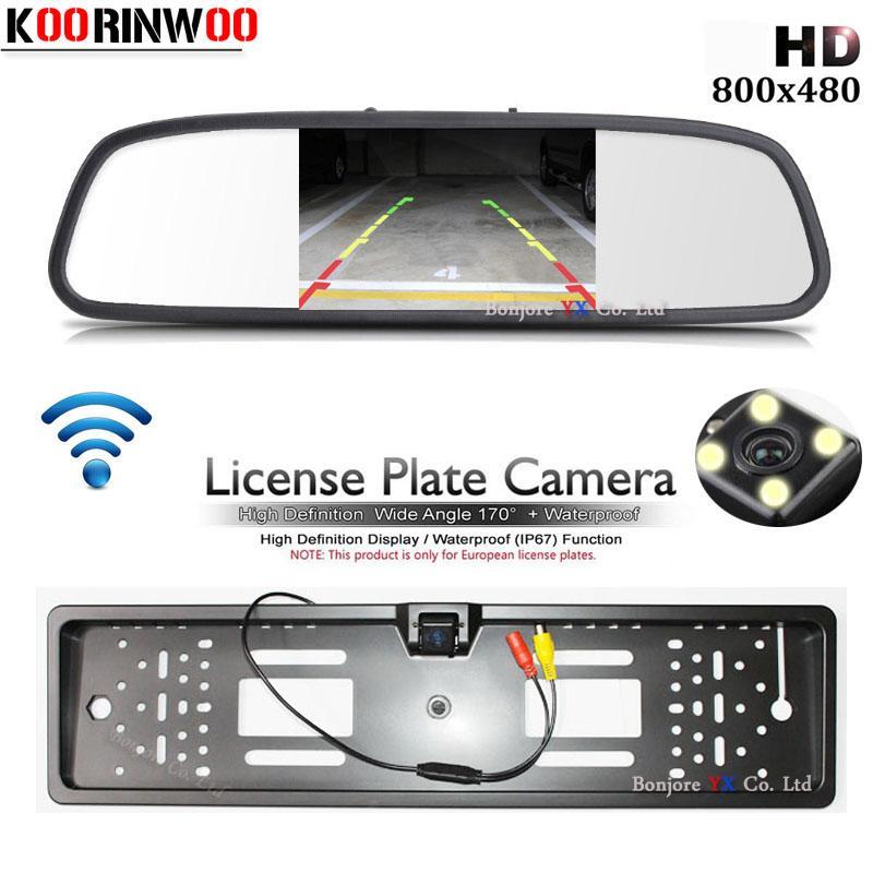 License Plate Frame Koorinwoo 2.4G sem fio UE Rear View Camera Car monitor Espelho Sistema de Vídeo RCA Input Estacionamento Assistência