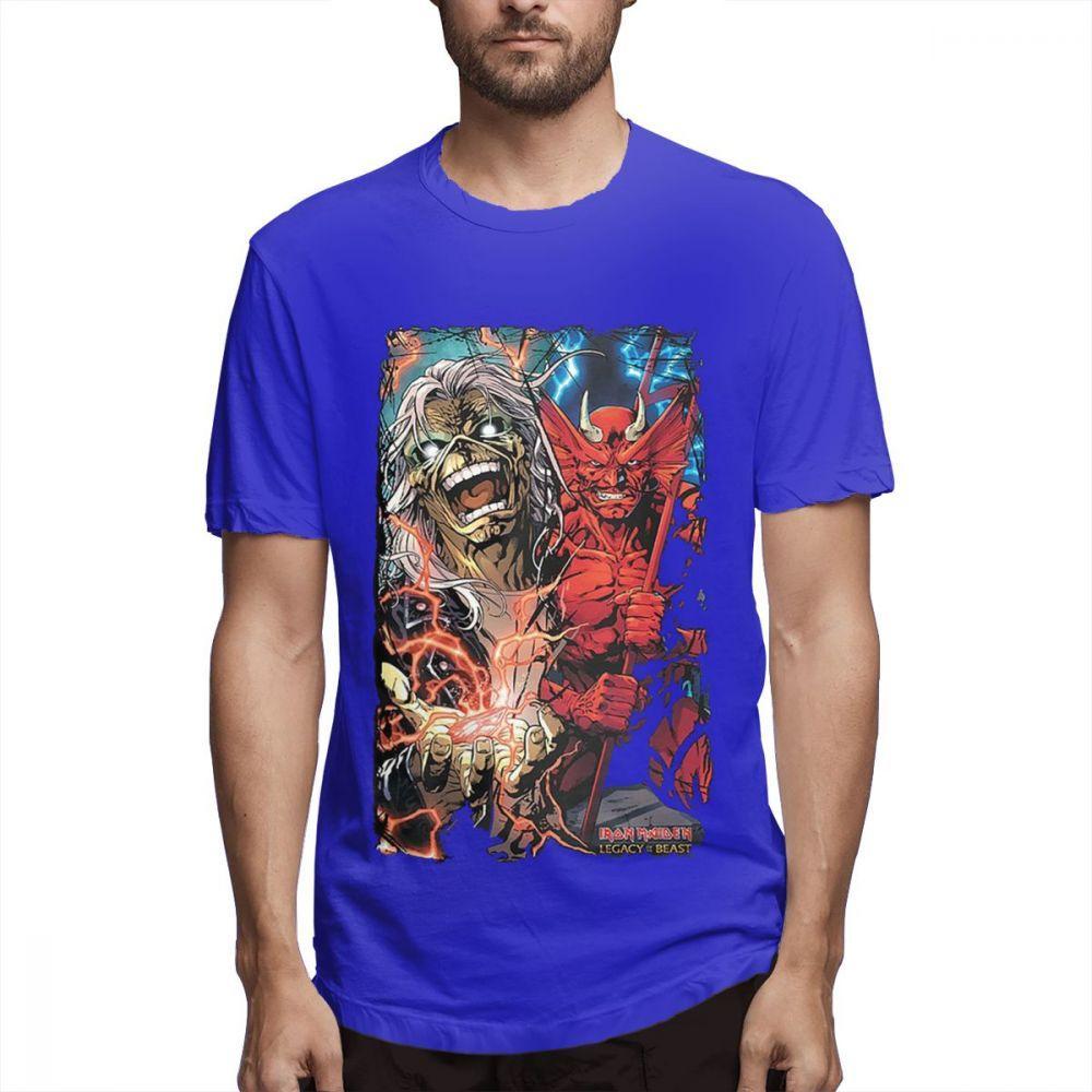 Официальная футболка Iron Maiden Trooper Обложка альбома логотип группы мужские хлопчатобумажные рубашки графические пары рубашки 315