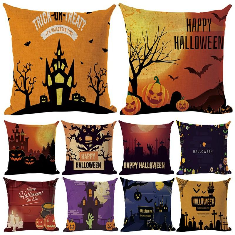 Liquidación Precio de Halloween Funda de almohada Inicio de cama de algodón de Halloween Ropa a prueba de polvo extraíble y lavable Fundas