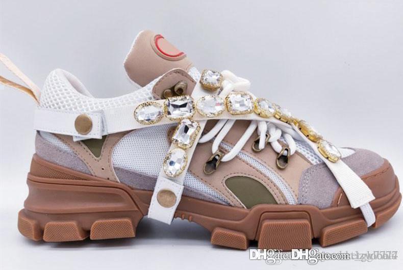 Sneaker Hot Flashtrek con cristalli rimovibili Scarpe da donna di design di lusso Scarpe da uomo di design di lusso sneakers Sei colori Taglia 35-45