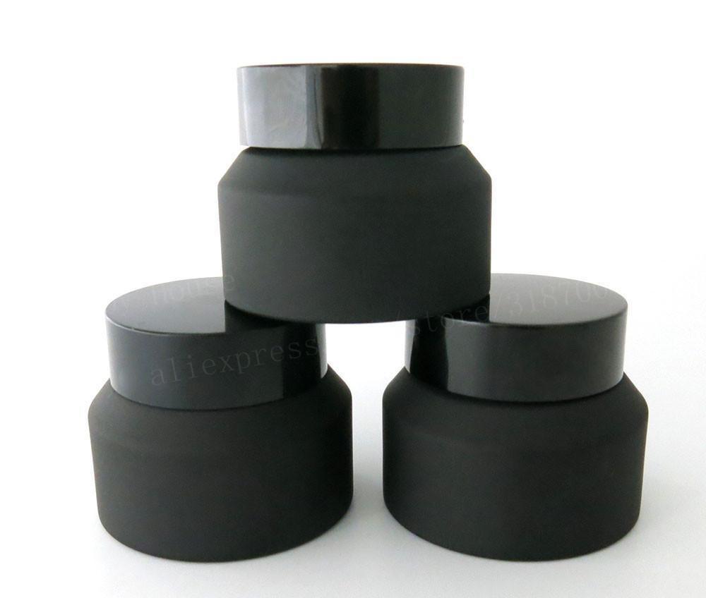 15g 30g 50g Frost Black Glass Sahneglas mit schwarzem Deckel Weiß Seal Insertion Container Kosmetik Verpackung Glas Creme Pot