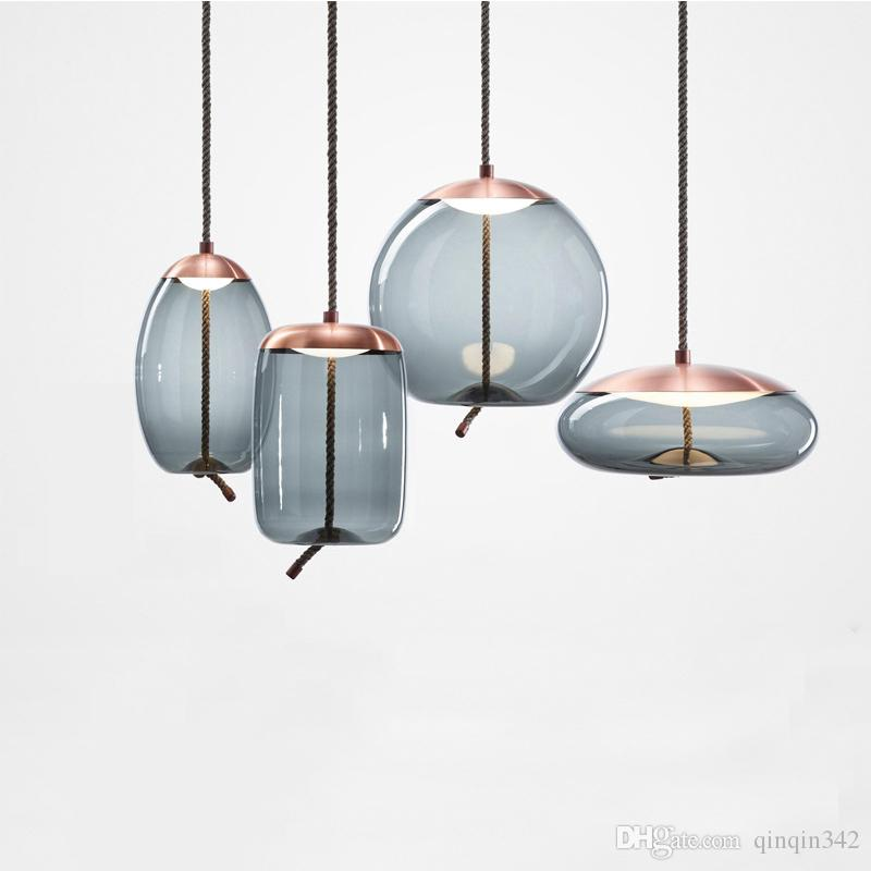 Modern loft industrial lamp blue glass pendant light LED art deco Nordic white hanglamp for living room kitchen bedroom parlor