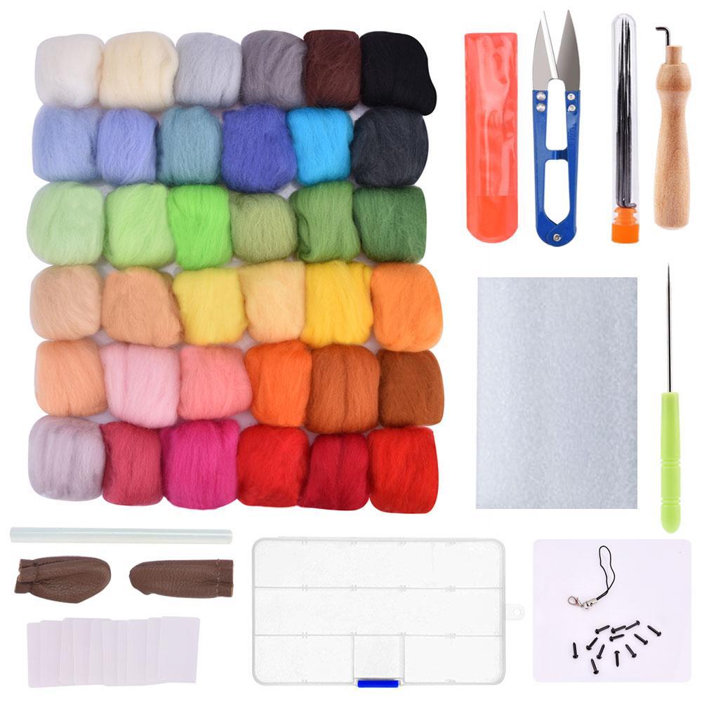 50 Colors Wool Felt Fiber Needle Felting Tool Roving Wool Handcraft Spinning Kit