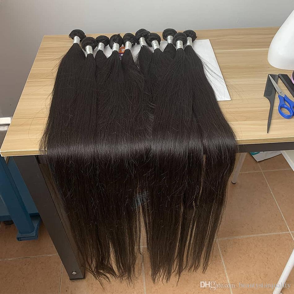 BeautyStarquality Çok Yumuşak Pürüzsüz Bakire Uzun İnsan Saç 32 34 36 38 inç Paketler Hint Düz Saç