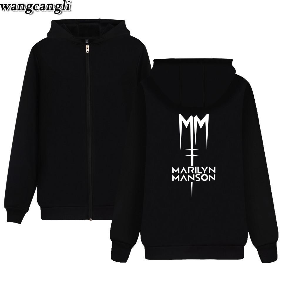 Marilyn Manson Hoodie Sweatshirt Männer Beliebte Rock Band Winter Reißverschluss Hoodies Herren Rock Streetwear Marilyn Manson Jacke Kleidung
