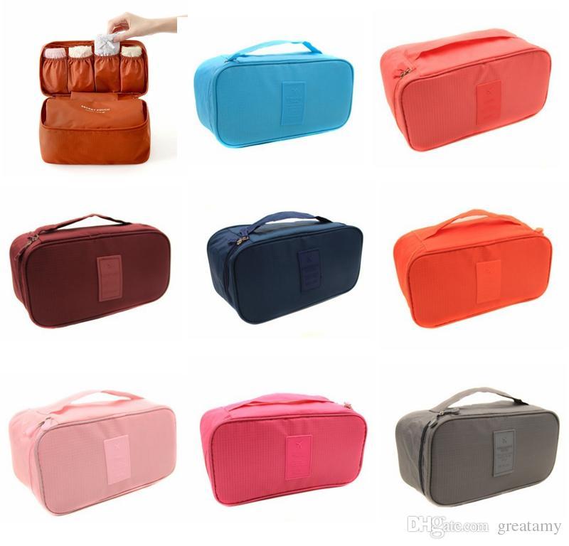 الصلبة اللون عادي المحمولة للماء النساء داخلية حمالات الصدر تخزين حقيبة فتاة سفر ماكياج التجميل المنظم حقيبة الأمتعة حالة حامل حقيبة