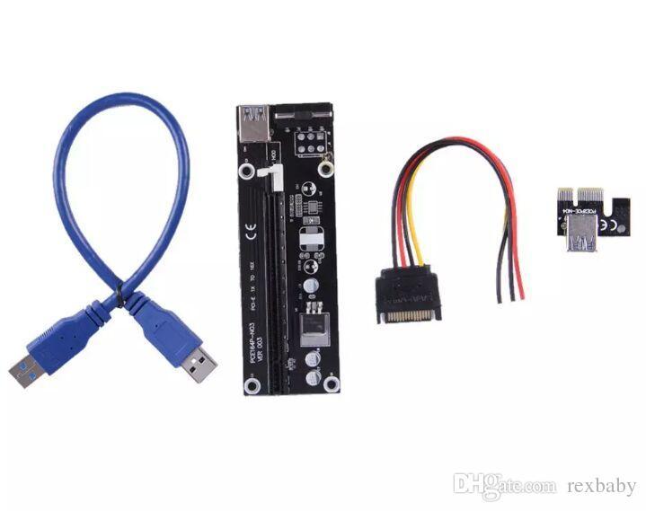 أحدث ميزة 1X إلى 16X PCI-E PCI E Express Riser موسع بطاقة محول مع 60 سم USB 3.0 كابل الطاقة لبيتكوين