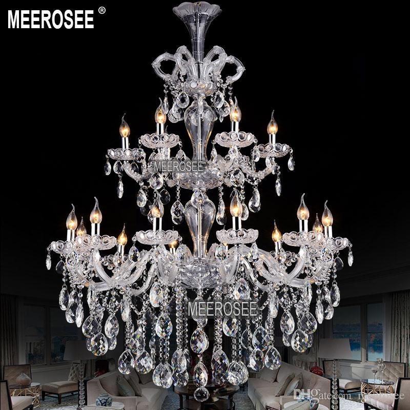 Luxurious Large Crystal Chandelier Light 2 tiers Clear Crystal Lighting Fixture staircase chandelier for Hotel Hanging Lamp