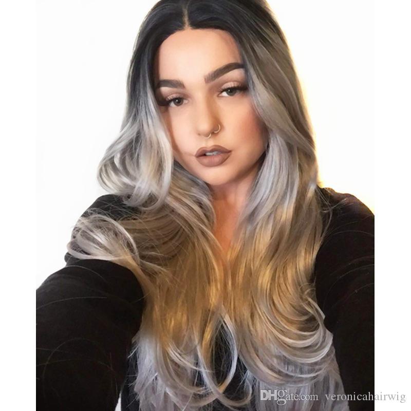 Ombre cinza 2 Tones sintético Lace Raízes Frente escuras peruca longa naturais reta Silver Grey cabelo calor Perucas resistentes para mulheres de 22 polegadas