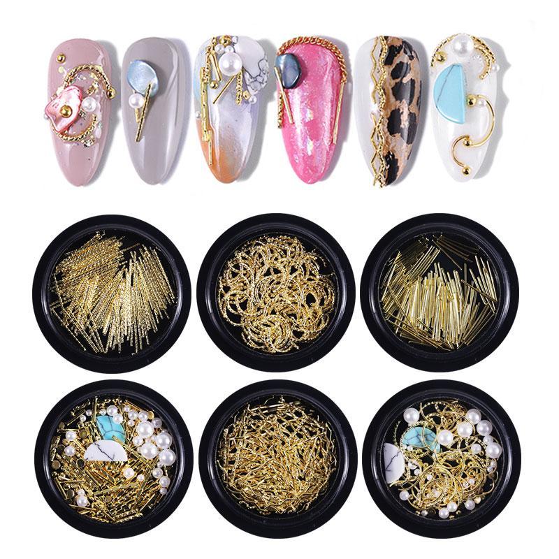 3D Nail Art Décorations Golden Lines Mixed Colorful strass pour ongles pierres de cristal pour ongles décoration bricolage manucure design
