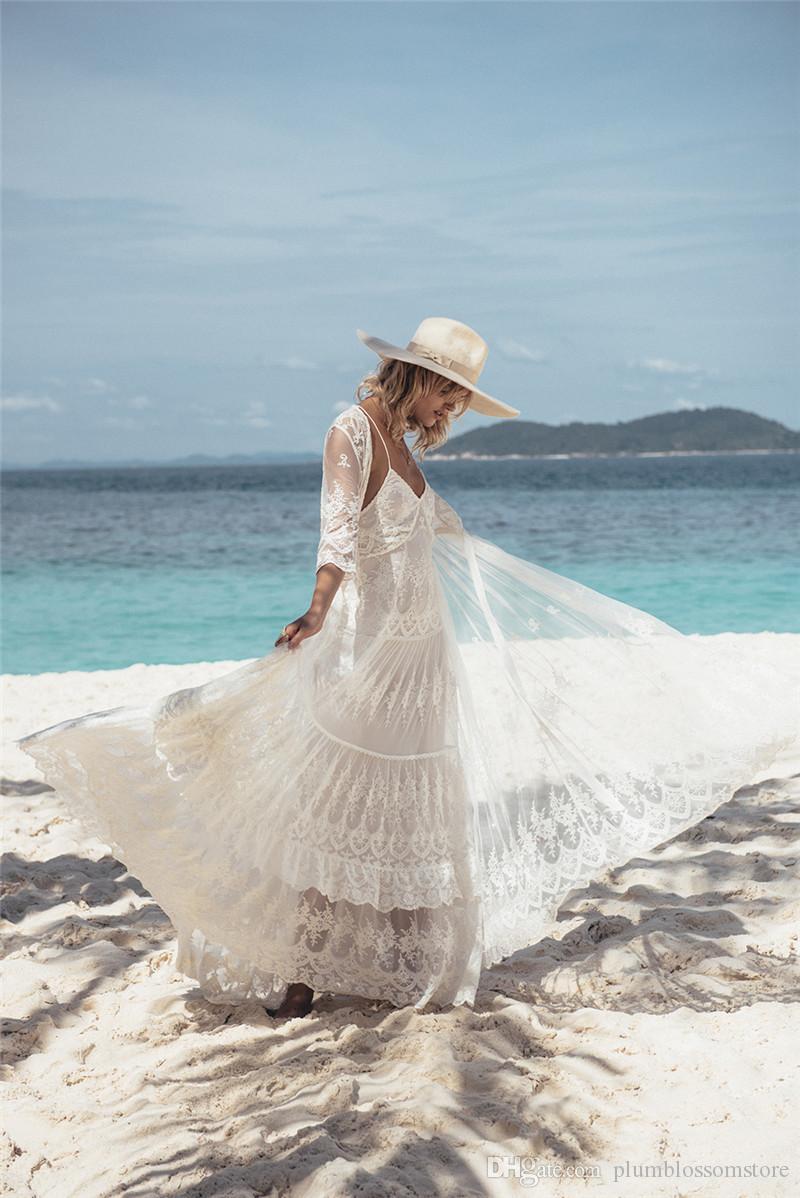 2020 Elegante Cover - Up Sexy Profondo Scollo A V Summer Beach Dress White Lace Tunica Costumi Da Bagno Delle Donne Beachwear Costume Da Bagno Cover Up Lungo Cardigan Camicette