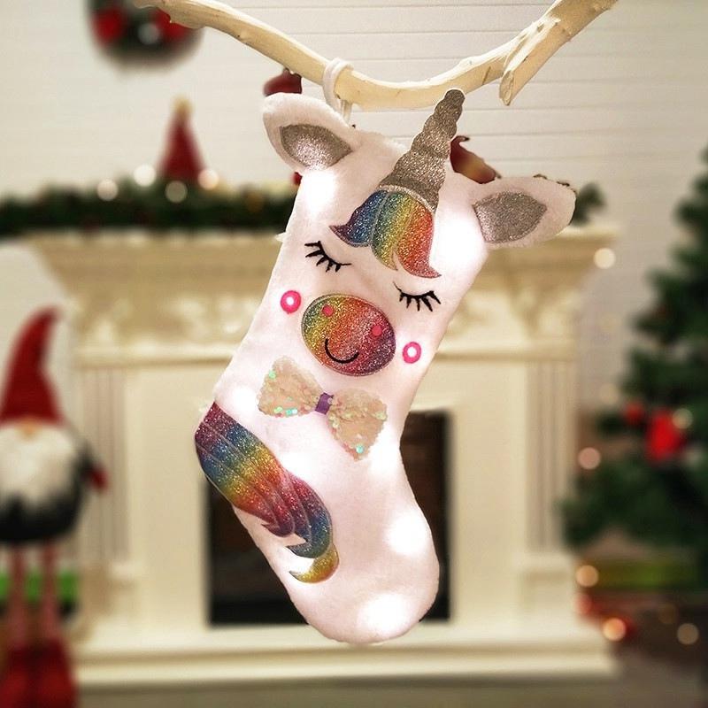 Titular presente de doces Meia do Natal de Papai Noel Bolsas Unicorn iluminadas férias Stocking decorativa do Natal na árvore de Natal ou lareira