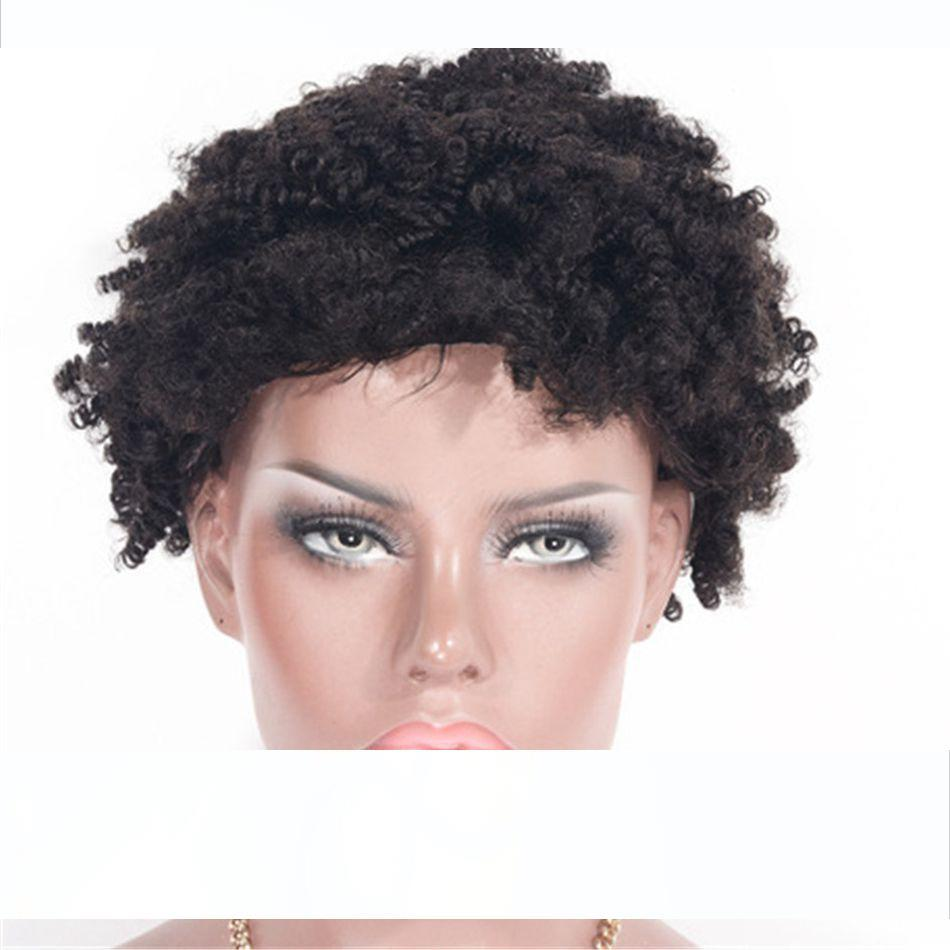 Cambojano Virgin cabelo rendas frente Wigs Pré arrancado da linha fina Kinky Curly Curto cabelo humano peruca Glueless por Mulheres