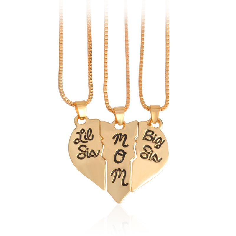 Mother Daughter Necklace Gift Big Sis Lil Sis Mom Broken Heart Puzzle Necklace Set heart necklace
