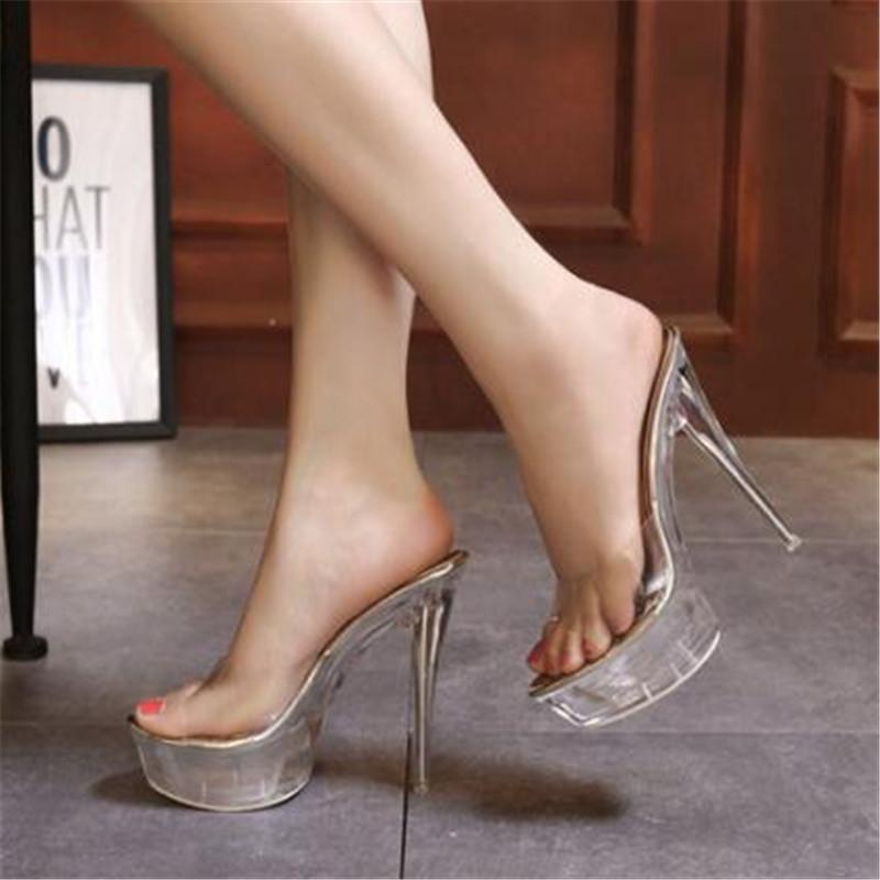 WADNASO High Quality Female Model T Station Catwalk Sexy Crystal Transparent Shoes 15CM High Heels Sandals Women Shoes Eu 34-40