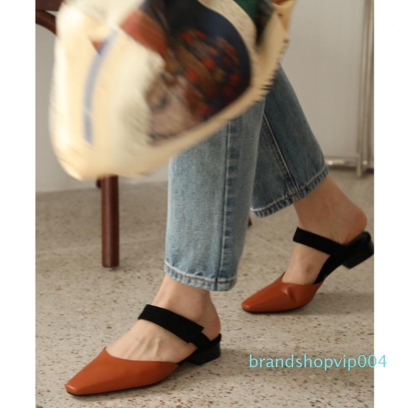 Sexy2019 Kühle Sharp Frau flache Schuhe Muller 2019 Coarse Mit Sandalen Baotou Slipper Auflieger Kleidung