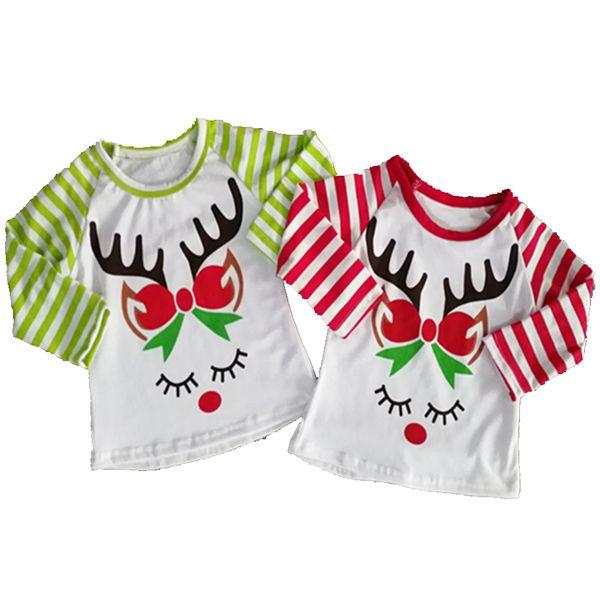 Kids Christmas Shirts.2019 2018 Fall Kids Christmas Shirts Childrens Boutique Clothing Girls Reindeer Printed Tshirts Striped Raglan Sleeve T Shirts Tops Baby Clothes From