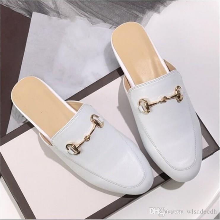 Vente chaude-Marque Mules Princetown Femmes Pantoufles Mules Appartements En Cuir Véritable Mode Chaîne En Métal Mesdames Casual chaussures taille 34 - 41