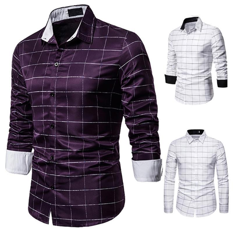 Завод прямых продаж для мужчин плед Кнопка Slim Fit отложным воротником с длинным рукавом рубашки кофточки Мужские рубашки зимы моды
