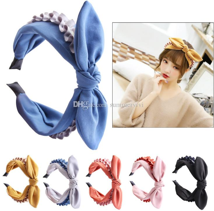 Children Bows hair sticks girls cartoon rabbit ear cosplay party headband boutique kids ruffle Bows princess hair accessories F4094