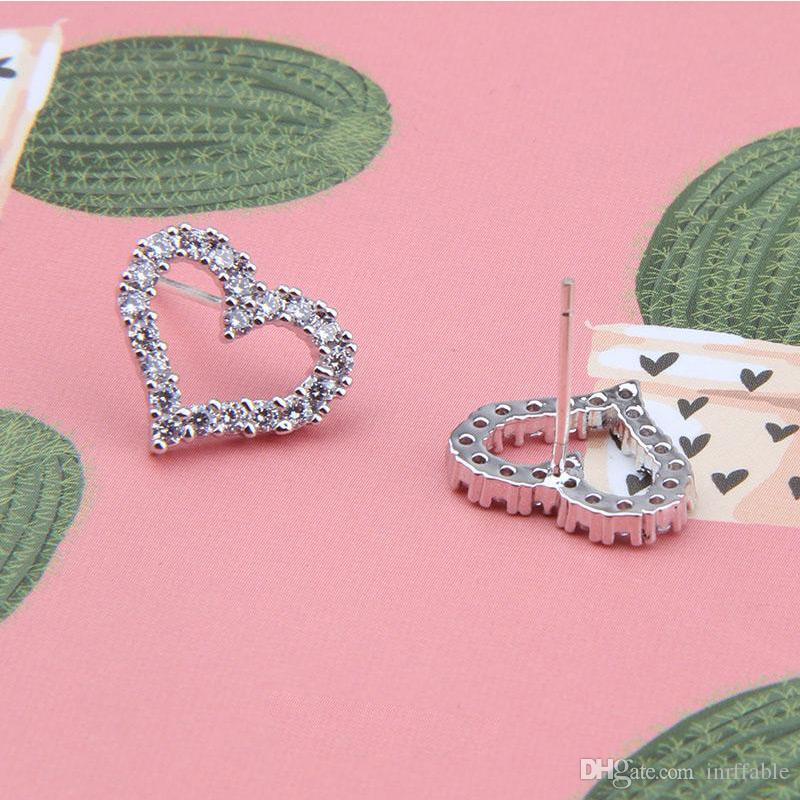 رومانسية الحب 925 أقراط المجوهرات للنساء أجوف لطيف صغيرة وأقراط هدية للبنات pendientes بيرلا