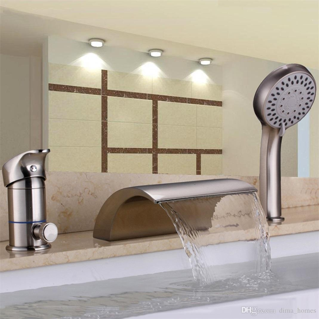 2019 Roman Tub Faucet One Handle Hand Shower Deck Mount Waterfall 3 Hole Filler Tap From Dima Homes 183 91 Dhgate Com