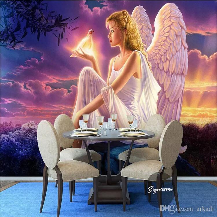 Foto personalizzato Wall Paper 3D Relief Angel Wings parete del mosaico pittura murale Luxury Sfondo soggiorno tv carta da parati della decorazione della casa Arkadi
