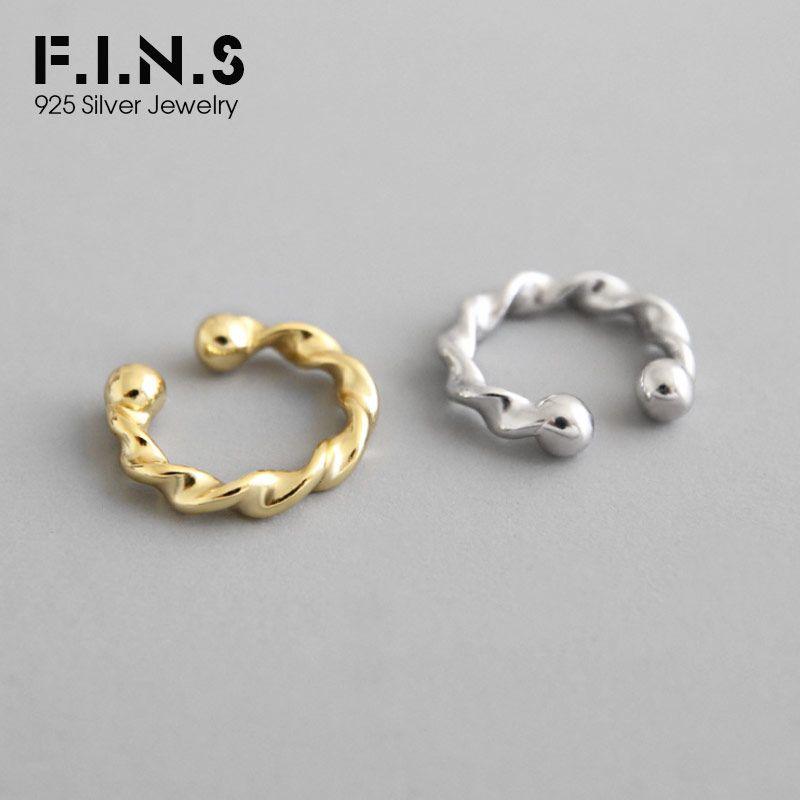 F. I. N. S модные стерлингового серебра 925 уха манжеты корейской моды твист S925 Серебряный клип на серьги без пирсинга ювелирных изделий