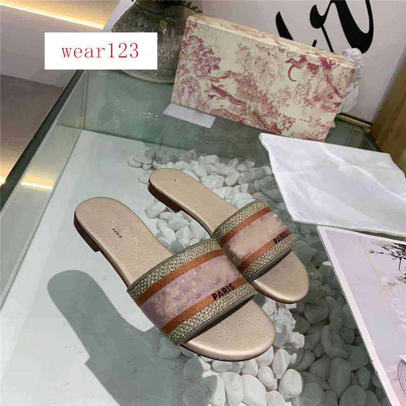 Boîte d'origine Dazzle Fleurs femmes Sandales Designer Chaussons Tongs Striped broderie Sandal Floral Brocade Slipper