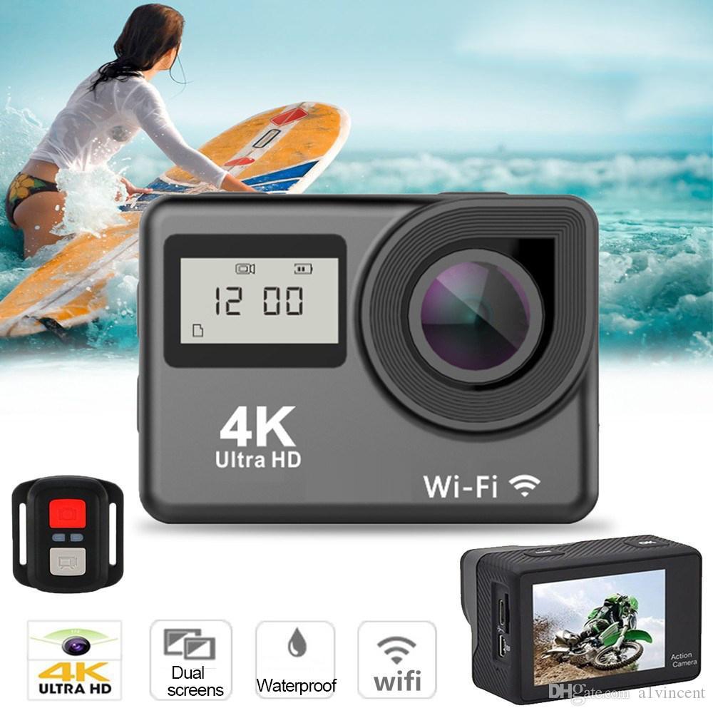 فائقة الدقة 4K شاشة تعمل باللمس كاميرا عمل واي فاي 1080 وعاء الشاشة المزدوجة 170 الذهاب للماء برو كام 4 كيلو الرياضة كاميرا مصغرة dvr التحكم عن بعد