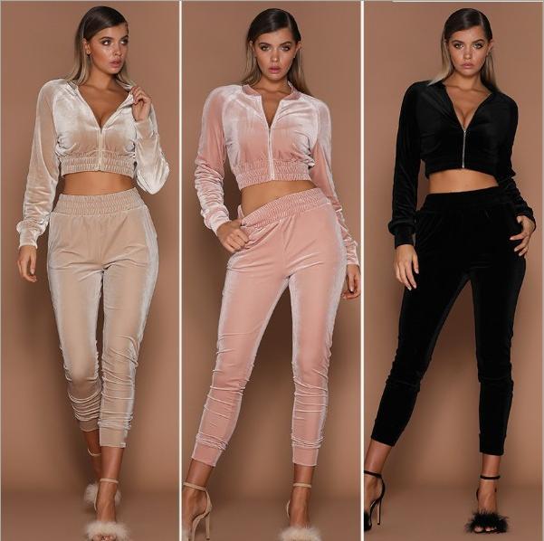 Velvet Set Women Tracksuits V Neck Long Sleeve Short Crop Jacket Hoodies Slim Sweat Suits Tracksuit Two Pieces Sportswear Autumn