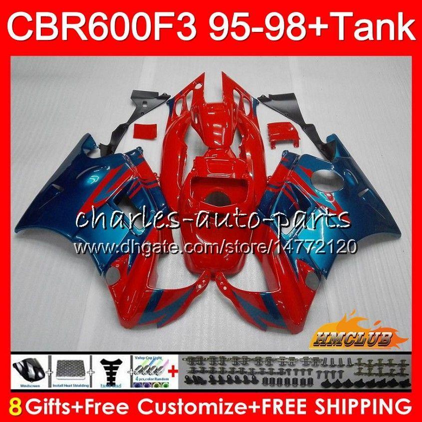 Lichaam + tank voor HONDA CBR 600F3 600CC CBR600 F3 95 96 97 98 41HC.23 CBR 600 FS F3 CBR600FS CBR600F3 1995 1996 1997 1998 Kuipaandelen Roodgloeiend