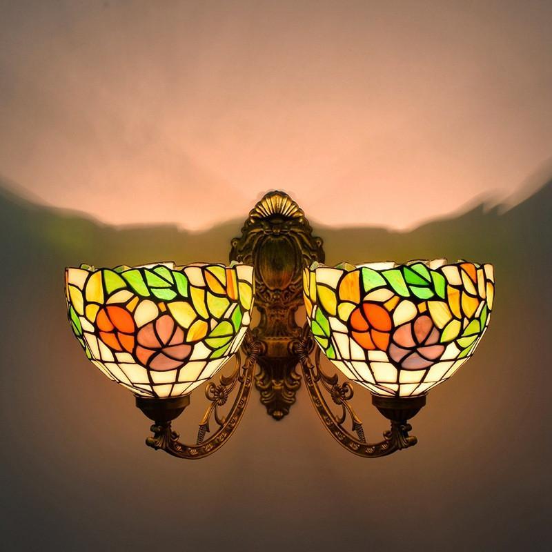 غرفة نمط الرجعية تيفاني رئيس مزدوجة الجدار مصباح يعيشون الطعام مصباح الغرفة ممر الزجاج الملون الأمريكية الجدار الزجاجي أضواء TF039
